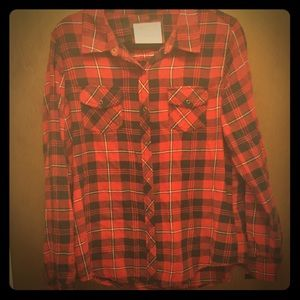 Arizona Jeans Red Flannel Plaid Shirt